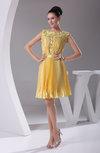 Informal Sleeveless Zipper Short Pleated Homecoming Dresses