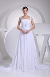 Modest Hall Thick Straps Sleeveless Backless Appliques Bridal Gowns