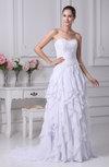 Romantic Garden Sweetheart Sleeveless Chiffon Brush Train Appliques Bridal Gowns