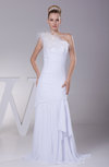 Modest Outdoor Column One Shoulder Sleeveless Chiffon Plainness Bridal Gowns