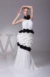 Modern Column Halter Zipper Chiffon Sweep Train Prom Dresses