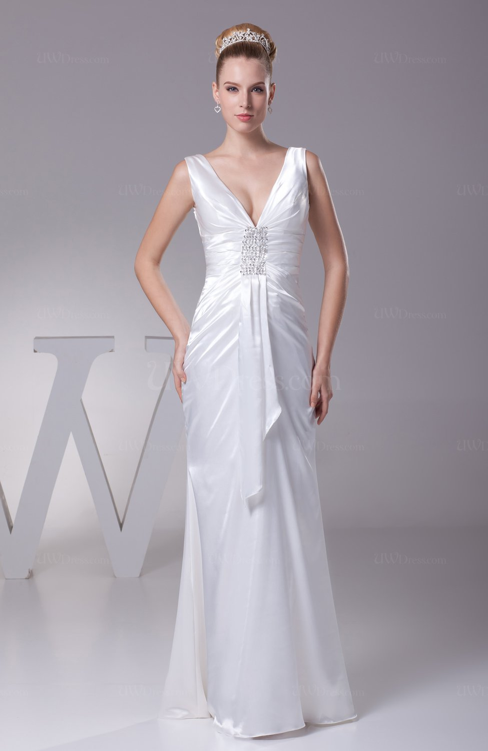Sexy Garden Column V Neck Silk Like Satin Floor Length