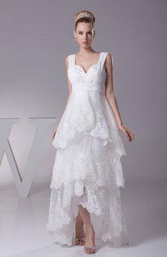 a8c2ba0e5bf White Informal Garden A-line Thick Straps Hi-Lo Beaded Bridal Gowns
