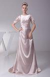 Vintage Bateau Short Sleeve Silk Like Satin Ruching Evening Dresses