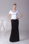 Plain Sheath Short Sleeve Zipper Silk Like Satin Plainness Prom Dresses