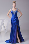 Modern Sheath Zipper Silk Like Satin Split-Front Prom Dresses