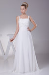 Elegant Outdoor A-line Thick Straps Chiffon Sweep Train Ruching Bridal Gowns