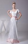 Plain Column V-neck Short Sleeve Zip up Silk Like Satin Bridesmaid Dresses
