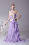 Plain A-line Asymmetric Neckline Sleeveless Chiffon Court Train Prom Dresses