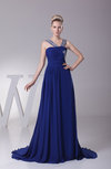 Romantic Strapless Sleeveless Backless Chiffon Ruching Prom Dresses