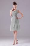 Elegant A-line Thick Straps Chiffon Knee Length Party Dresses