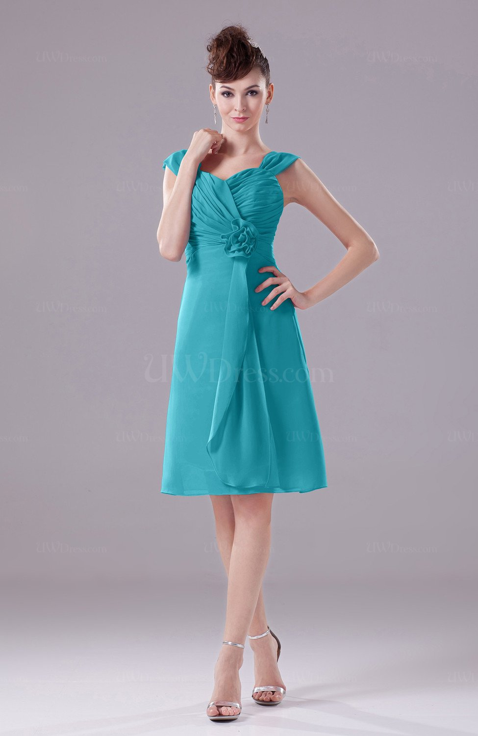 Teal Elegant A Line Thick Straps Chiffon Knee Length Party