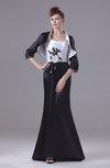 Modest Thick Straps 3/4 Length Sleeve Floor Length Appliques Evening Dresses