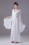 Modest Garden Column V-neck Long Sleeve Zip up Bridal Gowns