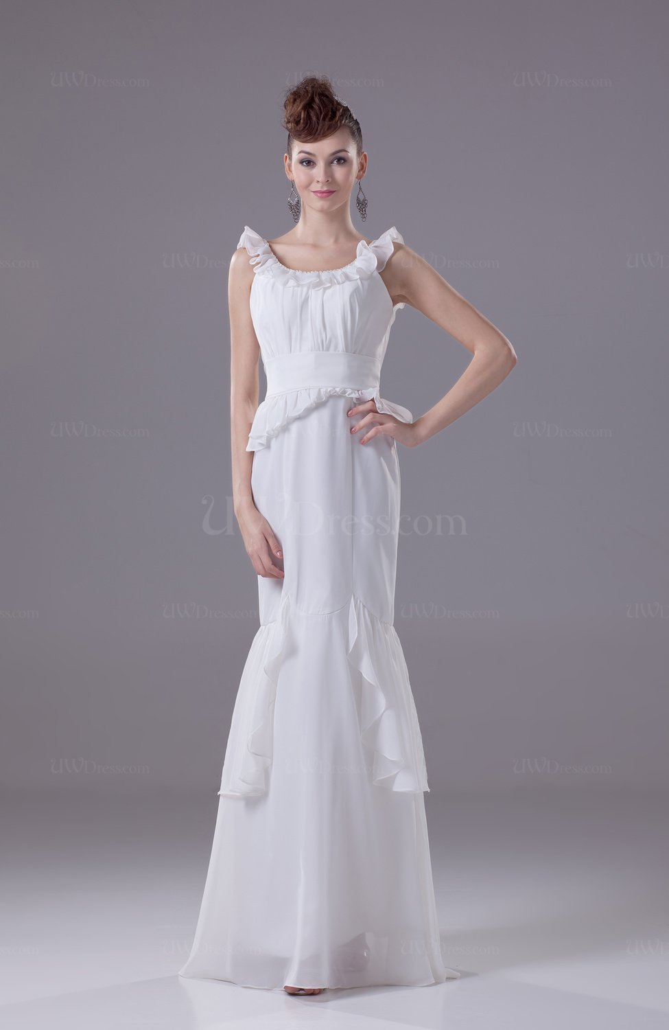 Modest Mermaid Scoop Chiffon Floor Length Ruching Evening