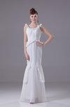 Modest Mermaid Scoop Chiffon Floor Length Ruching Evening Dresses