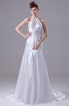 Plain Garden Illusion Sleeveless Court Train Ruching Bridal Gowns