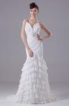 Modest Church Trumpet Spaghetti Sleeveless Zipper Bridal Gowns