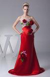 Modern A-line Strapless Satin Court Train Ruching Evening Dresses