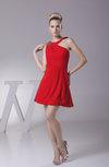 Modest Asymmetric Neckline Sleeveless Chiffon Mini Rhinestone Club Dresses
