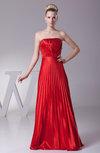 Elegant A-line Strapless Sleeveless Floor Length Pleated Prom Dresses