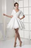 Traditional Garden V-neck Short Sleeve Taffeta Short Ruching Bridal Gowns