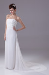 Fairytale Hall A-line Strapless Sleeveless Chiffon Court Train Bridal Gowns