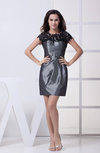 Simple Jewel Short Sleeve Zipper Lace Evening Dresses