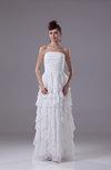 Modest Beach A-line Strapless Chiffon Ruffles Bridal Gowns