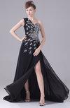 Modern Asymmetric Neckline Sleeveless Chiffon Court Train Rhinestone Prom Dresses