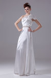 Modern Garden A-line One Shoulder Half Backless Rhinestone Bridal Gowns