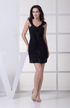 662efdedb1 Black Modern Column Sleeveless Chiffon Short Ruching Homecoming Dresses
