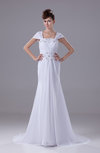 Modest Garden Square Short Sleeve Court Train Lace Bridal Gowns