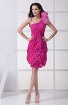 Cute Sheath One Shoulder Sleeveless Knee Length Draped Prom Dresses