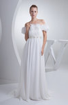 Cinderella Church A-line Short Sleeve Chiffon Flower Bridal Gowns