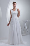 Modest Hall Scoop Zipper Chiffon Court Train Bridal Gowns