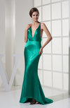Sexy Mermaid V-neck Sleeveless Silk Like Satin Sequin Homecoming Dresses