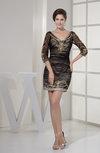 Mature Sheath V-neck 3/4 Length Sleeve Zipper Homecoming Dresses