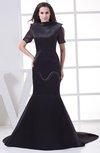 Gorgeous Sabrina Short Sleeve Zip up Satin Chapel Train Prom Dresses