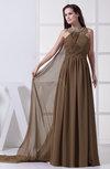 Modest A-line Jewel Sleeveless Backless Chiffon Prom Dresses