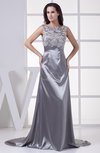 Gorgeous Boat Sleeveless Zip up Elastic Woven Satin Court Train Prom Dresses