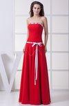 Simple Sleeveless Zipper Chiffon Floor Length Sash Bridesmaid Dresses