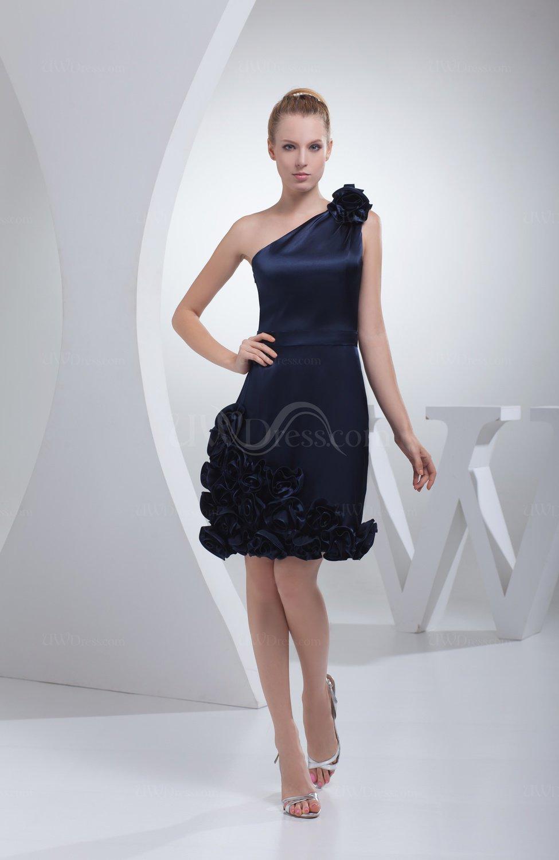 Navy Blue Cute Column Backless Silk Like Satin Knee Length