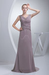 Cute A-line Zipper Chiffon Brush Train Ruching Prom Dresses