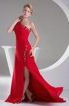 Gorgeous One Shoulder Chiffon Court Train Appliques Party Dresses