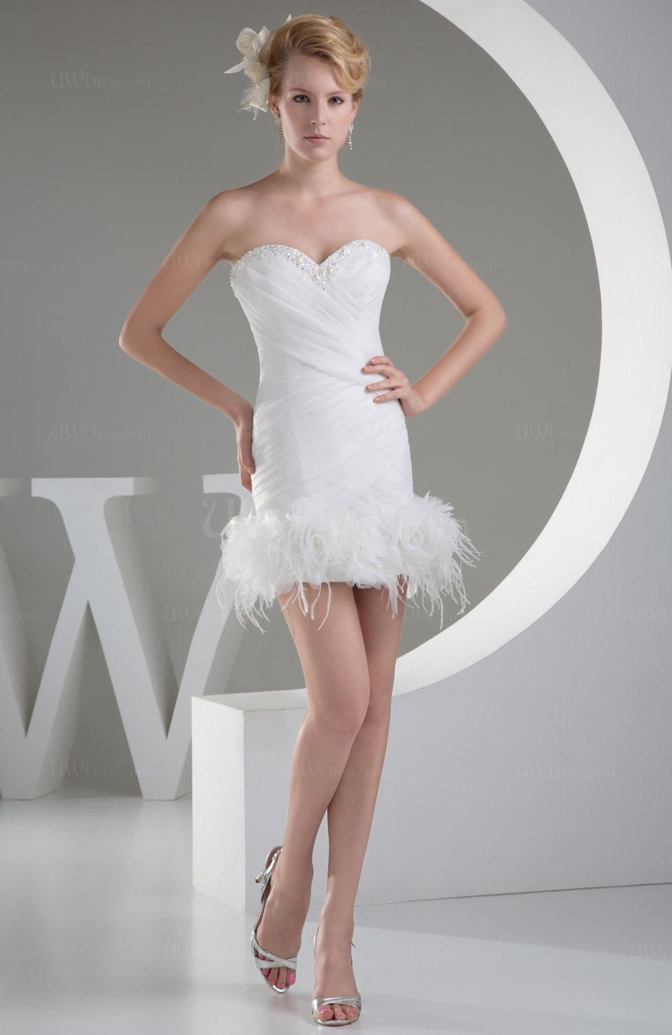 White Sexy Hall Column Sleeveless Organza Mini Fur Bridal