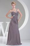 Modest A-line Asymmetric Neckline Sleeveless Sweep Train Party Dresses