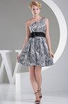 Plain Sleeveless Zip up Knee Length Flower Prom Dresses