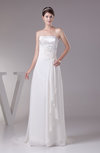 Modest Church Strapless Lace up Chiffon Court Train Pleated Bridal Gowns