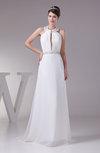 Plain Church A-line Sleeveless Backless Ruching Bridal Gowns